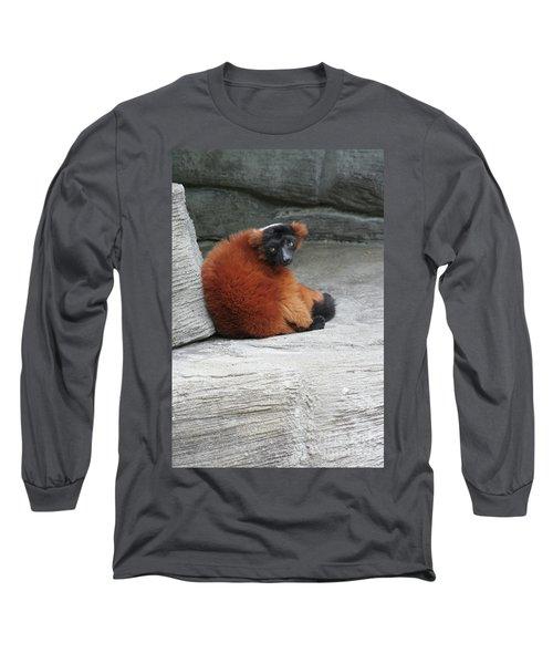 Red Ruffed Lemur Long Sleeve T-Shirt