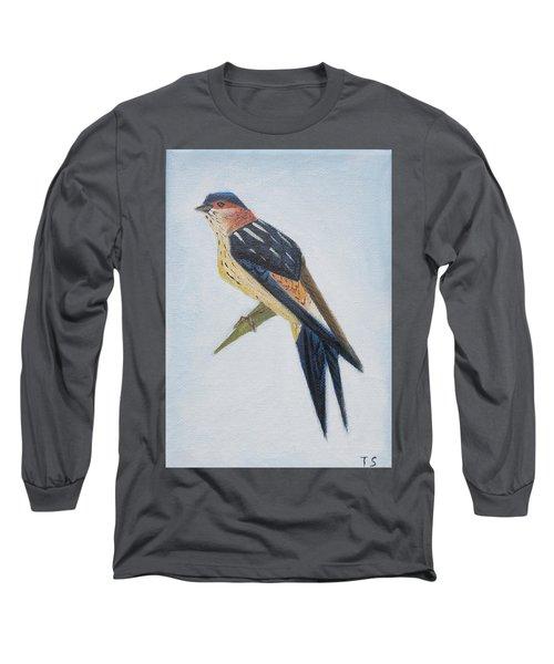 Red-rumped Swallow Long Sleeve T-Shirt by Tamara Savchenko