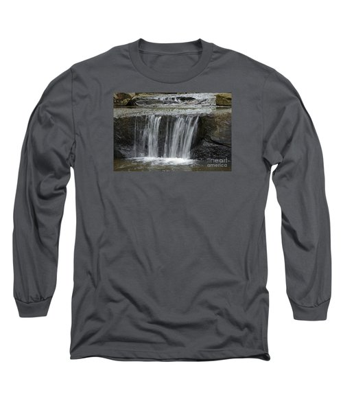 Red Run Waterfall Long Sleeve T-Shirt by Randy Bodkins