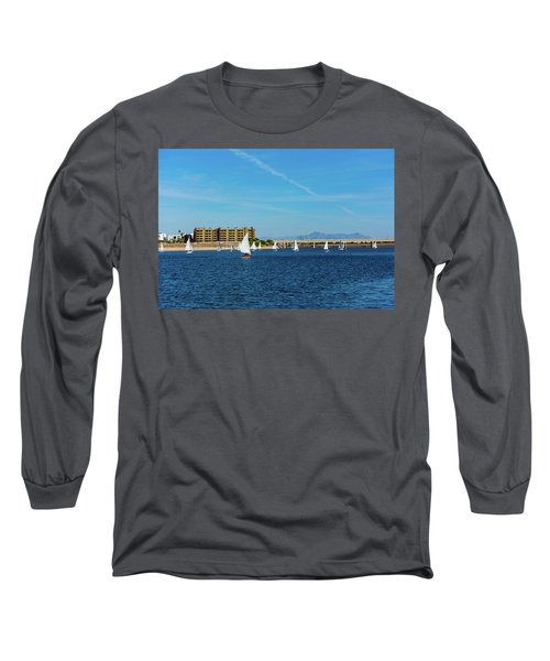 Red Sailboat In The Desert Long Sleeve T-Shirt
