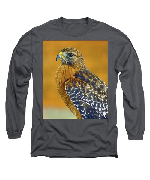 Long Sleeve T-Shirt featuring the photograph Red Shouldered Hawk by Larry Nieland