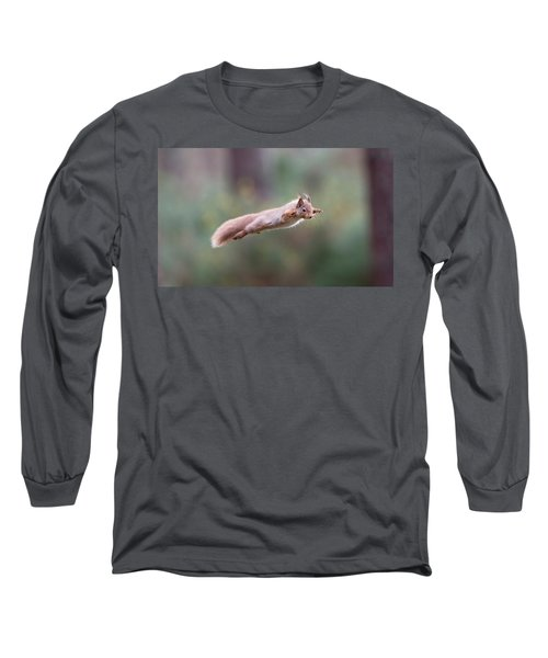 Red Squirrel Leaping Long Sleeve T-Shirt