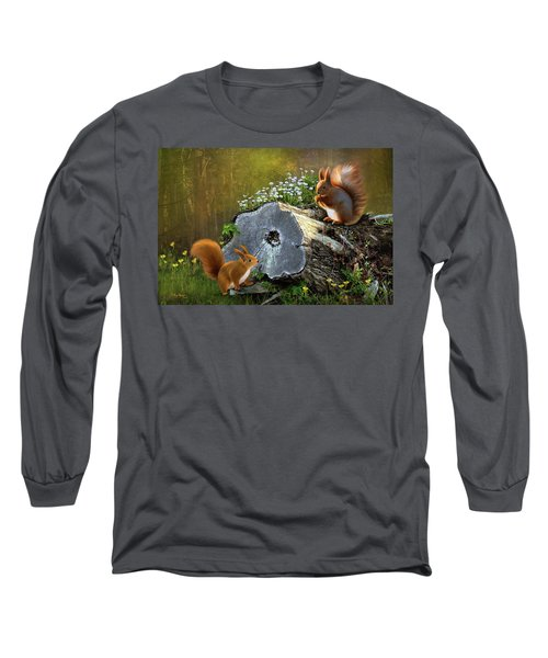 Long Sleeve T-Shirt featuring the digital art Red Squirrels by Thanh Thuy Nguyen