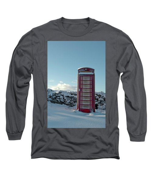 Red Telephone Box In The Snow IIi Long Sleeve T-Shirt