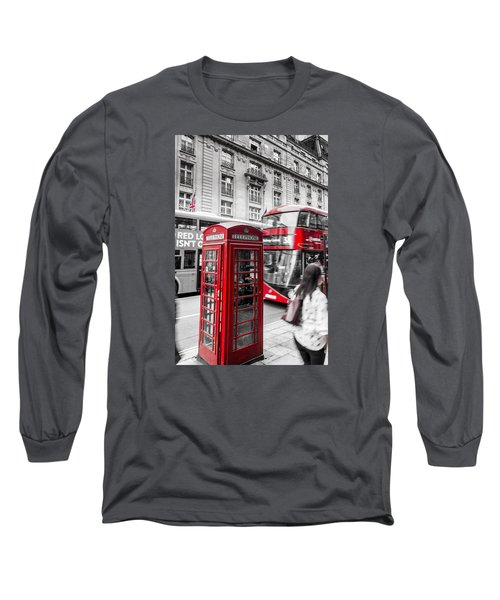 Red Telephone Box With Red Bus In London Long Sleeve T-Shirt