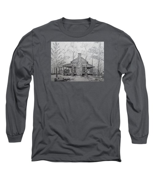 Long Sleeve T-Shirt featuring the painting Red Top Mountain's Log Cabin by Gretchen Allen
