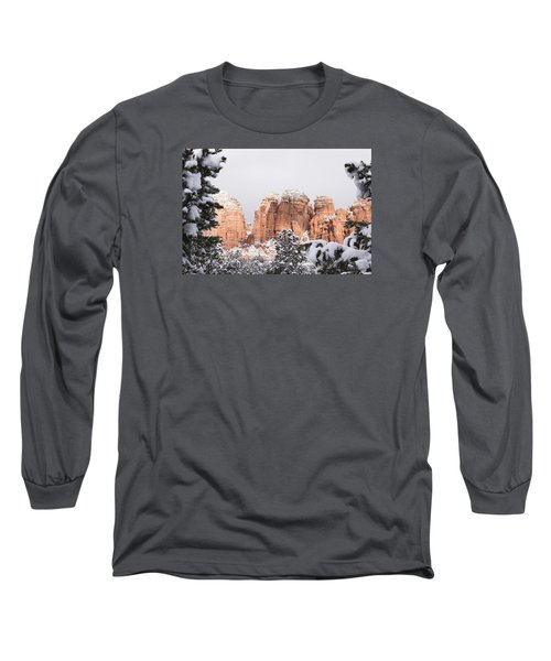 Long Sleeve T-Shirt featuring the photograph Red Towers Under Snow by Laura Pratt