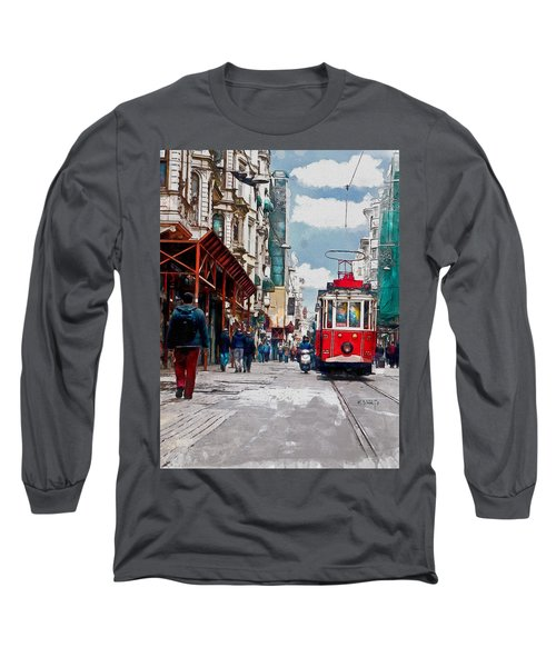 Long Sleeve T-Shirt featuring the digital art Red Tram by Kai Saarto