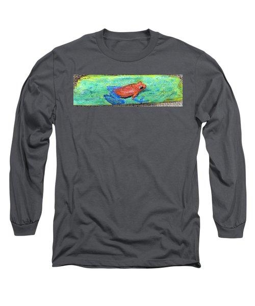 Red Tree Frog Long Sleeve T-Shirt by Ann Michelle Swadener