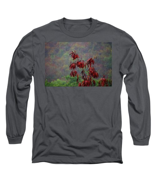 Red Tree In The Rain Long Sleeve T-Shirt