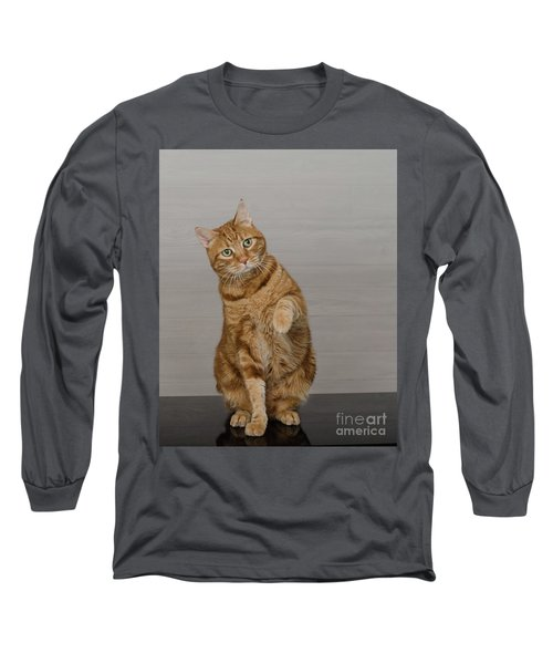 Red Tubby Cat Tabasco Waiving Long Sleeve T-Shirt