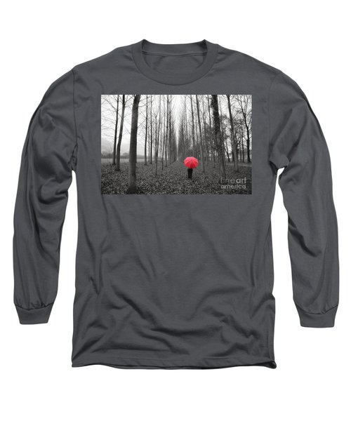 Red Umbrella In An Allee Long Sleeve T-Shirt