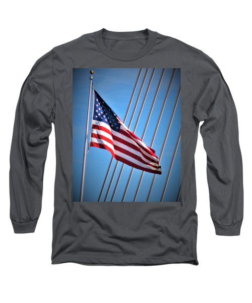 Red, White And Blue Long Sleeve T-Shirt by Martin Cline