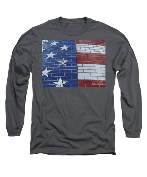 Red White And Blue On Brick Long Sleeve T-Shirt by Erick Schmidt