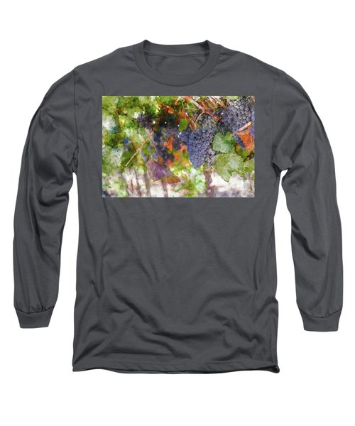 Red Wine Grapes On The Vine In Wine Country Long Sleeve T-Shirt