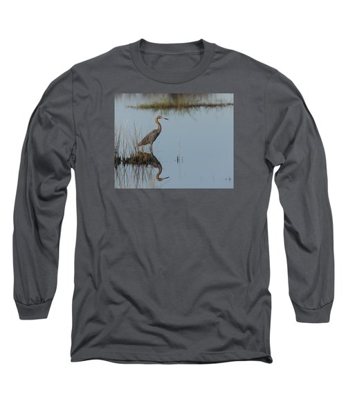 Reddish Egret And Reflection In The Morning Light Long Sleeve T-Shirt