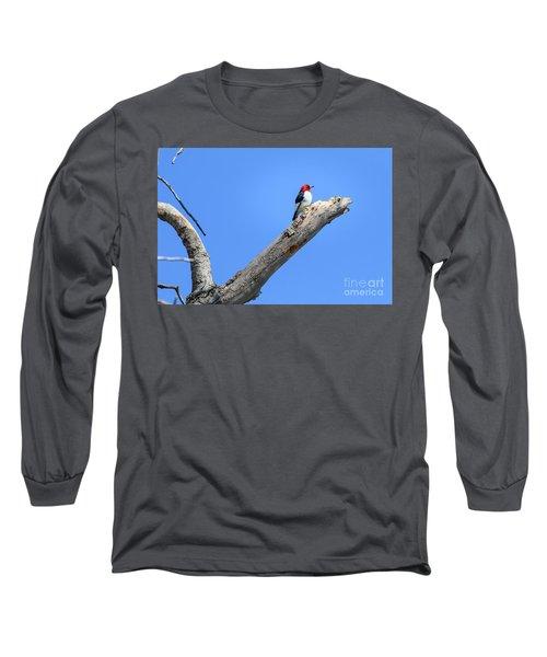 Redheaded Woodpecker On A Dead Tree Long Sleeve T-Shirt