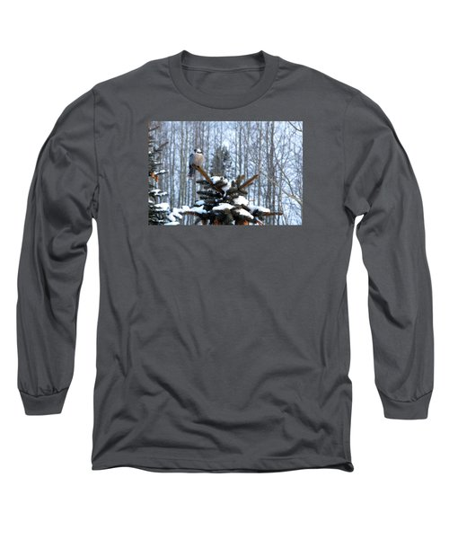 Refined Little Gray Jay In Colorado Long Sleeve T-Shirt
