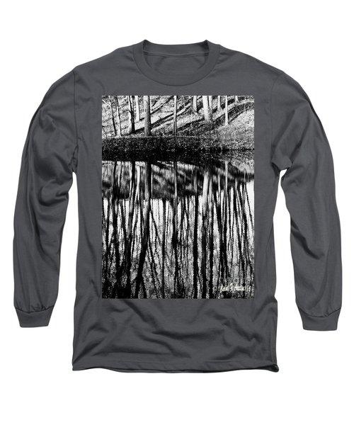Reflected Landscape Patterns Long Sleeve T-Shirt by Carol F Austin