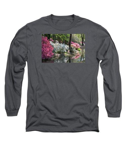 Reflecting Azaleas Long Sleeve T-Shirt by Linda Geiger