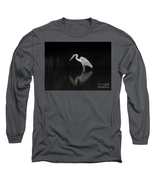 Reflecting Heron Long Sleeve T-Shirt by Judy Wolinsky