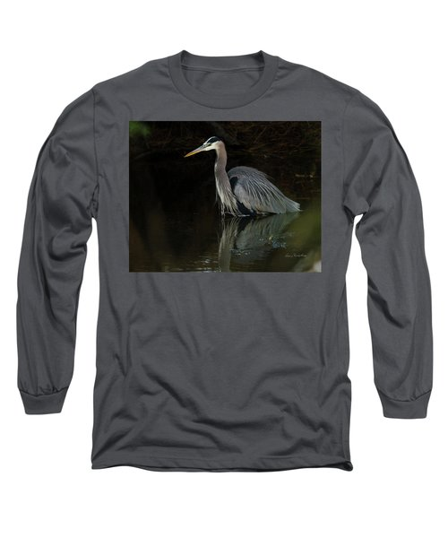 Reflection Of A Heron Long Sleeve T-Shirt by George Randy Bass