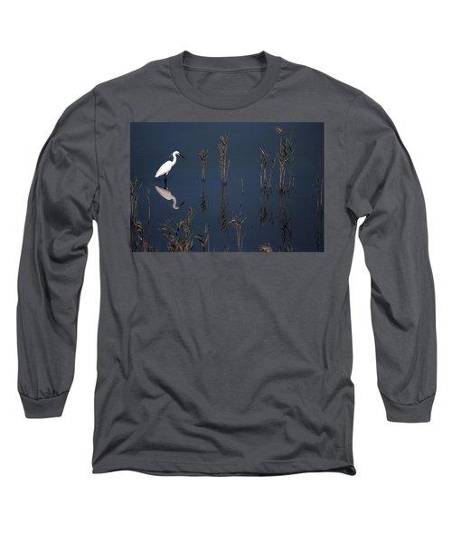 Reflection Of Little Egret In Lake Long Sleeve T-Shirt
