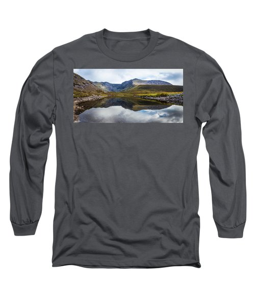 Reflection Of The Macgillycuddy's Reeks In Lough Eagher Long Sleeve T-Shirt by Semmick Photo