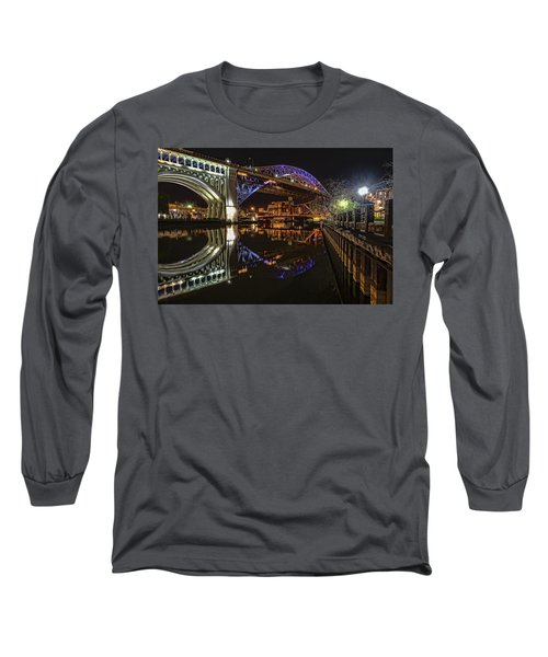 Long Sleeve T-Shirt featuring the photograph Reflections Of Veterans Memorial Bridge  by Brent Durken