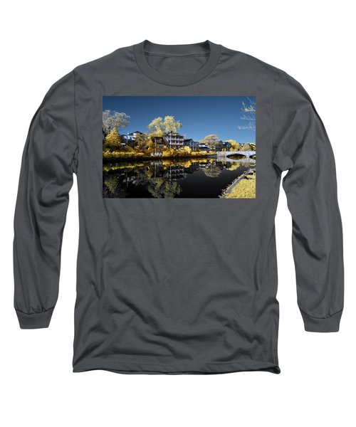 Reflections On Wesley Lake Long Sleeve T-Shirt by Paul Seymour