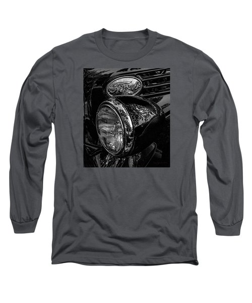Long Sleeve T-Shirt featuring the photograph Reflective Ford In Black-and-white by Trey Foerster