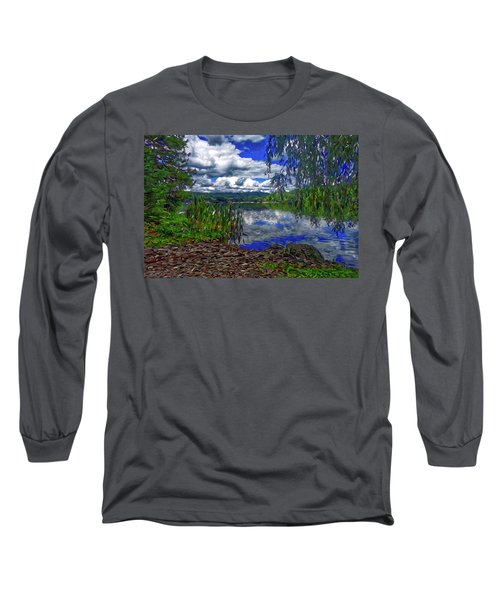 Long Sleeve T-Shirt featuring the painting Reflective Lake by Joan Reese