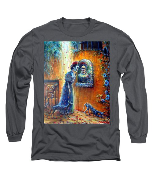 Long Sleeve T-Shirt featuring the painting Reflejo De Frida by Heather Calderon