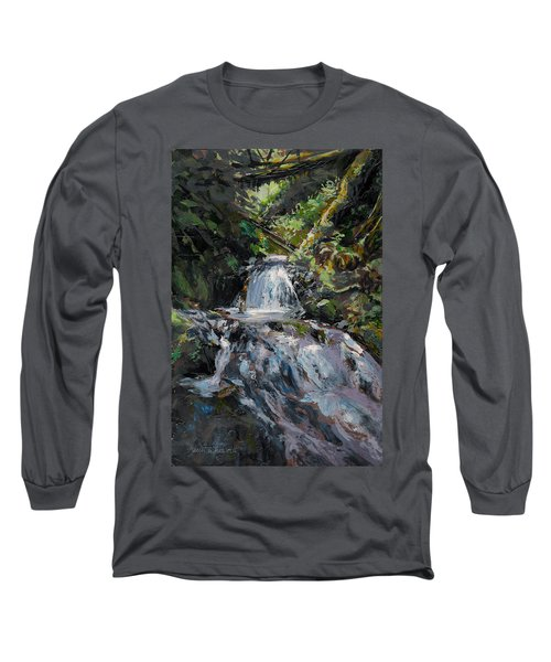 Long Sleeve T-Shirt featuring the painting Refreshed - Rainforest Waterfall Impressionistic Painting by Karen Whitworth