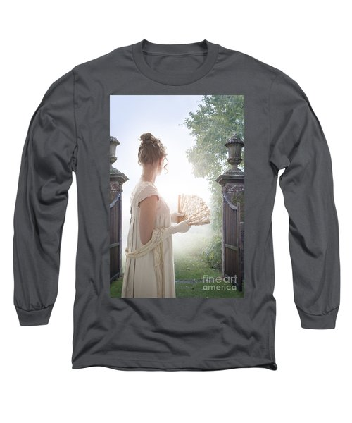 Regency Woman Looking Through A Gateway Long Sleeve T-Shirt by Lee Avison