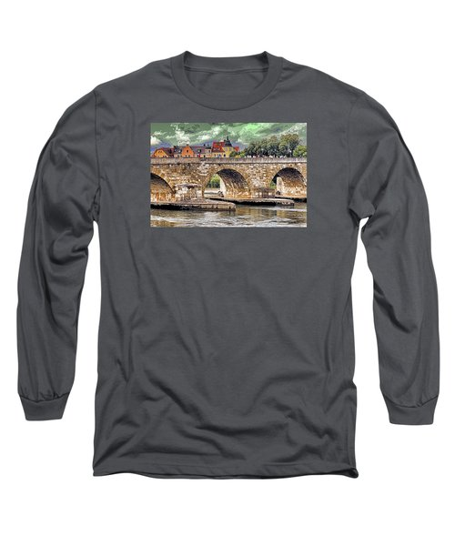 Long Sleeve T-Shirt featuring the photograph Regensburg Stone Bridge by Dennis Cox WorldViews