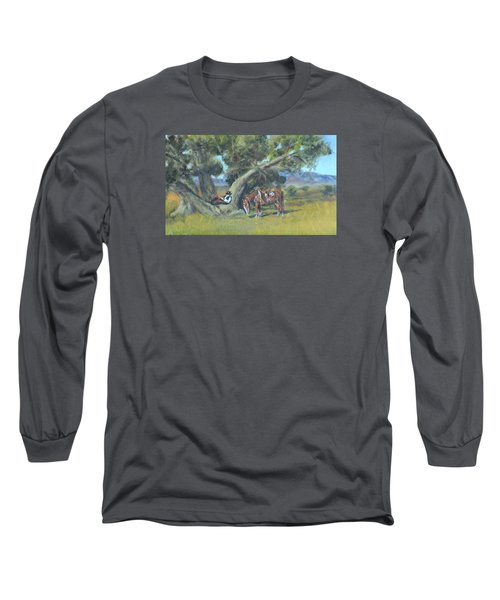 Resting Cowboy Painting A Study Long Sleeve T-Shirt by  Luczay