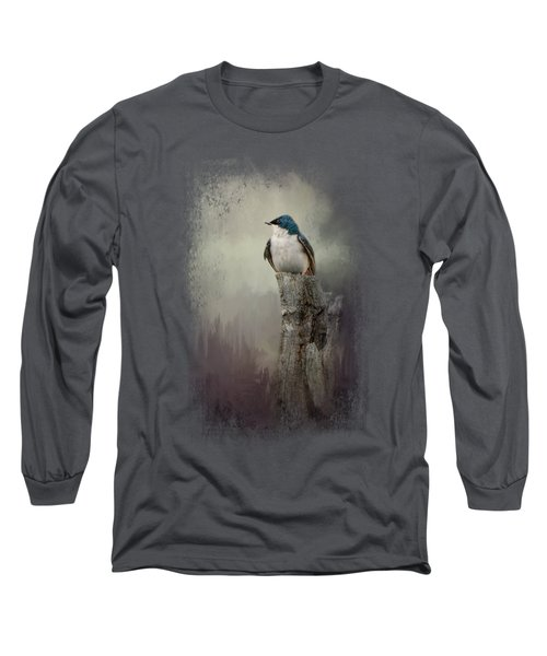 Resting Tree Swallow Long Sleeve T-Shirt by Jai Johnson