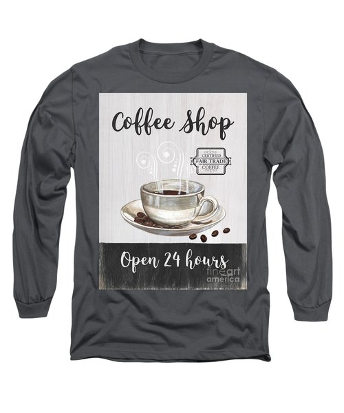 Long Sleeve T-Shirt featuring the painting Retro Coffee Shop 1 by Debbie DeWitt