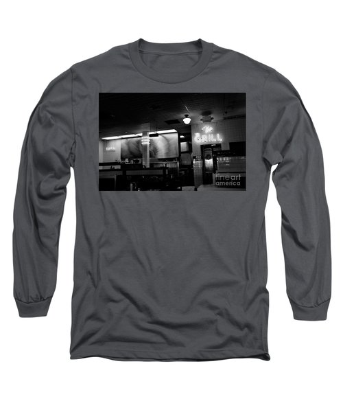 Retro Diner In Athens, Georgia -black And White Long Sleeve T-Shirt