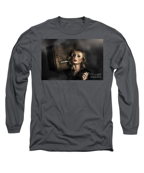 Retro Military Pinup Girl In Grunge Army Fashion Long Sleeve T-Shirt