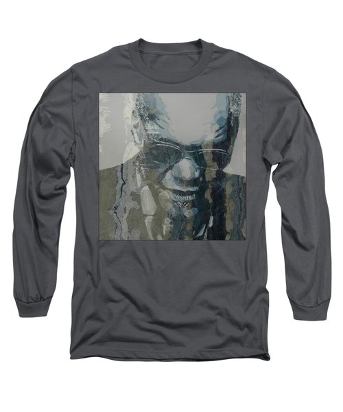 Long Sleeve T-Shirt featuring the mixed media Retro / Ray Charles  by Paul Lovering