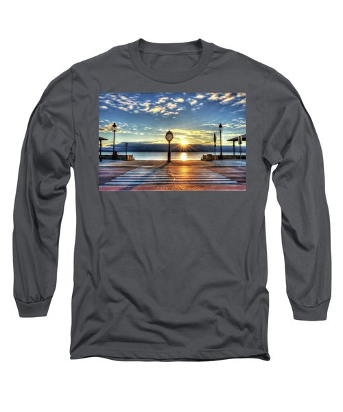 Revere Beach Clock At Sunrise Angled Long Shadow Revere Ma Long Sleeve T-Shirt