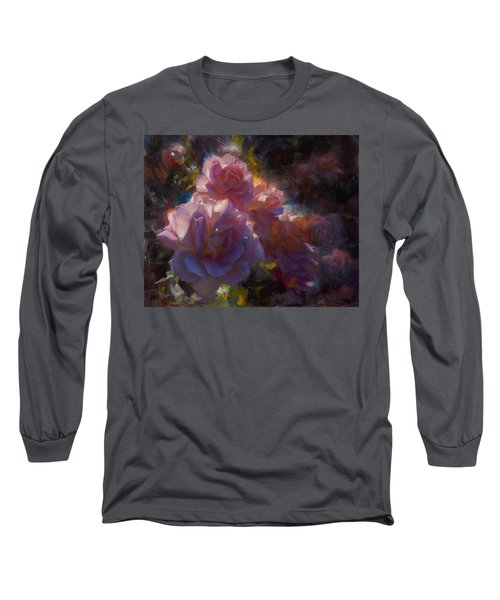 Long Sleeve T-Shirt featuring the painting Rhapsody Roses - Flowers In The Garden Painting by Karen Whitworth