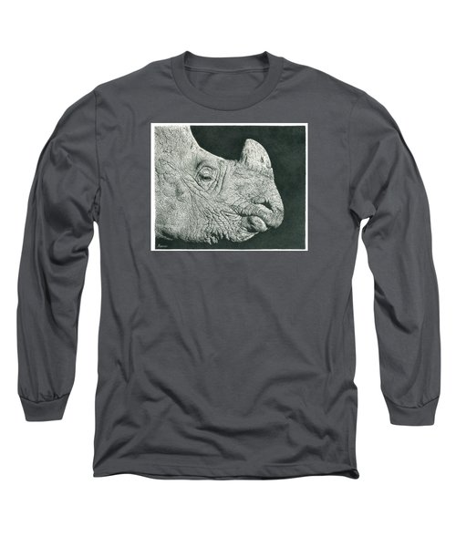Rhino Pencil Drawing Long Sleeve T-Shirt