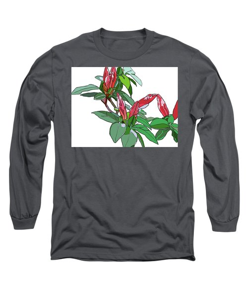 Rhododendron Buds Long Sleeve T-Shirt by Jamie Downs