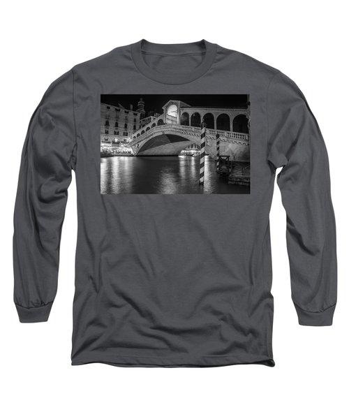 Rialto Bridge Black And White  Long Sleeve T-Shirt