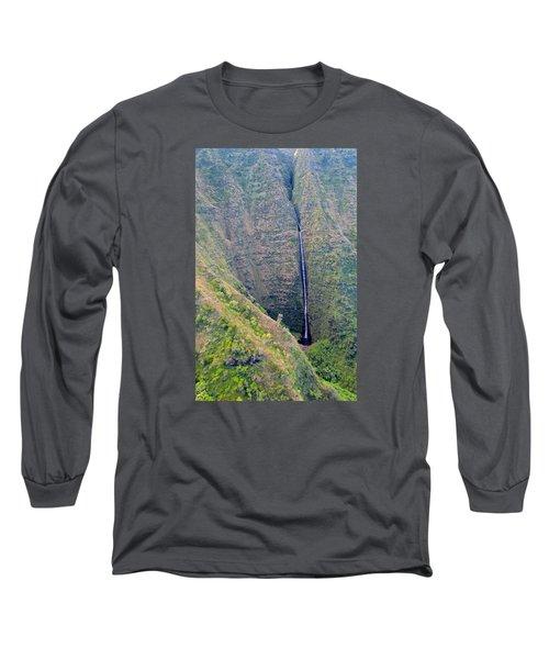 Long Sleeve T-Shirt featuring the photograph Ribbon Falls On The Napali Coast by Brenda Pressnall