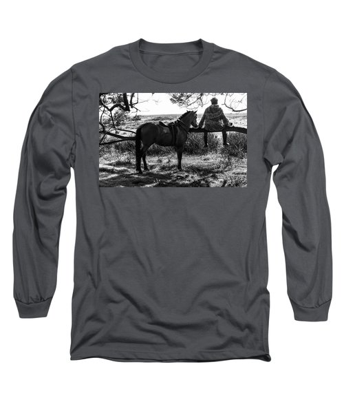Rider And Horse Taking Break Long Sleeve T-Shirt