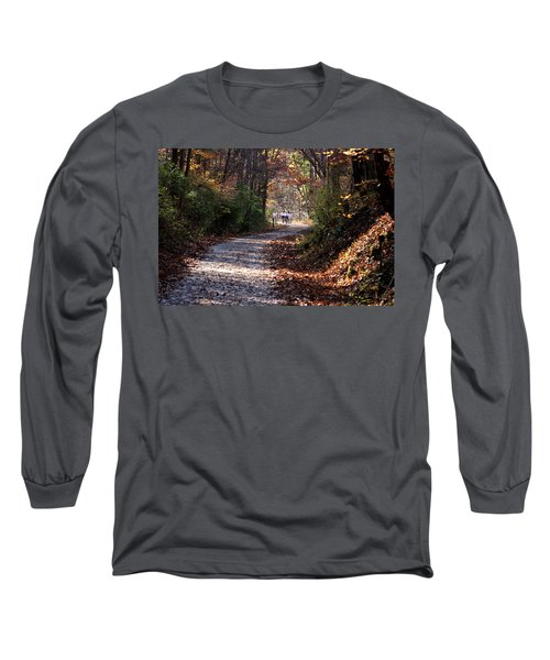 Long Sleeve T-Shirt featuring the photograph Riding Bikes On Park Trail In Autumn by Emanuel Tanjala